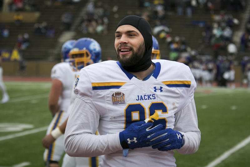NFL teams made frequent scouting visits to check out South Dakota State tight end Dallas Goedert. (AP)