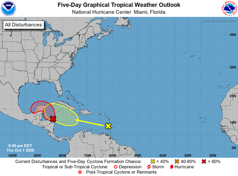 Forecasters are monitoring two tropical waves Thursday and one of them could turn into a tropical depression as it moves through the Caribbean Sea this weekend. The other wave, east of the Lesser Antilles, could also see some development in the next five days though forecasters say its chances are much lower.