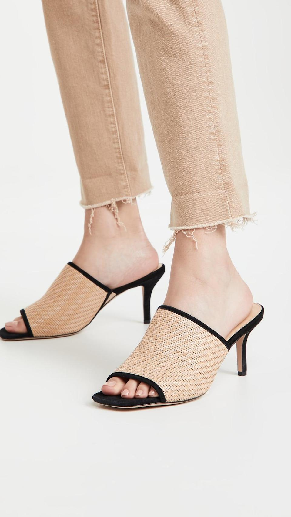 <p>We love the two tone of these <span>Veronica Beard Maisie Mules</span> ($325). The tan and black together is elevated and sophisticated.</p>