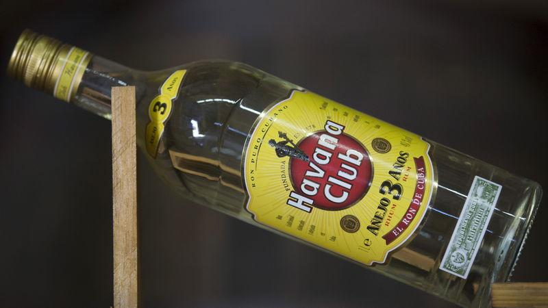 A Havana Club rum bottle is displayed at a cellar of the Havana Club Distillery in San Jose de las Lajas, Cuba