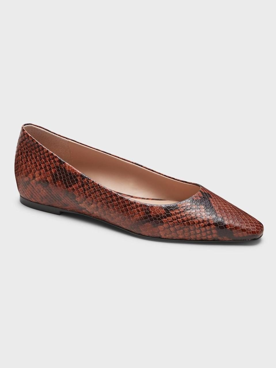 <p>These printed <span>Banana Republic Leather Pointed-Toe Flats</span> ($65, originally $108) would look great with light wash jeans.</p>