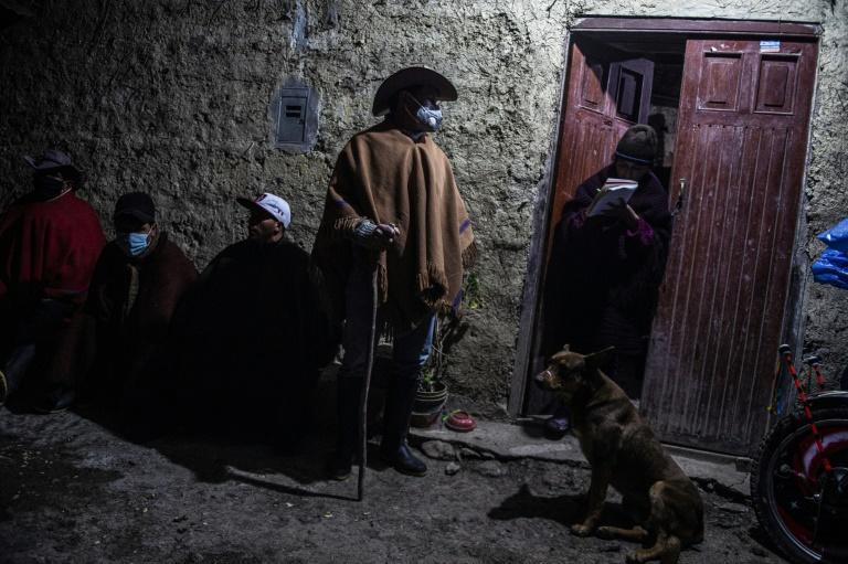 A group of peasants armed with wooden sticks and leather whips set off on their nighttime patrols in Chota, Cajamarca