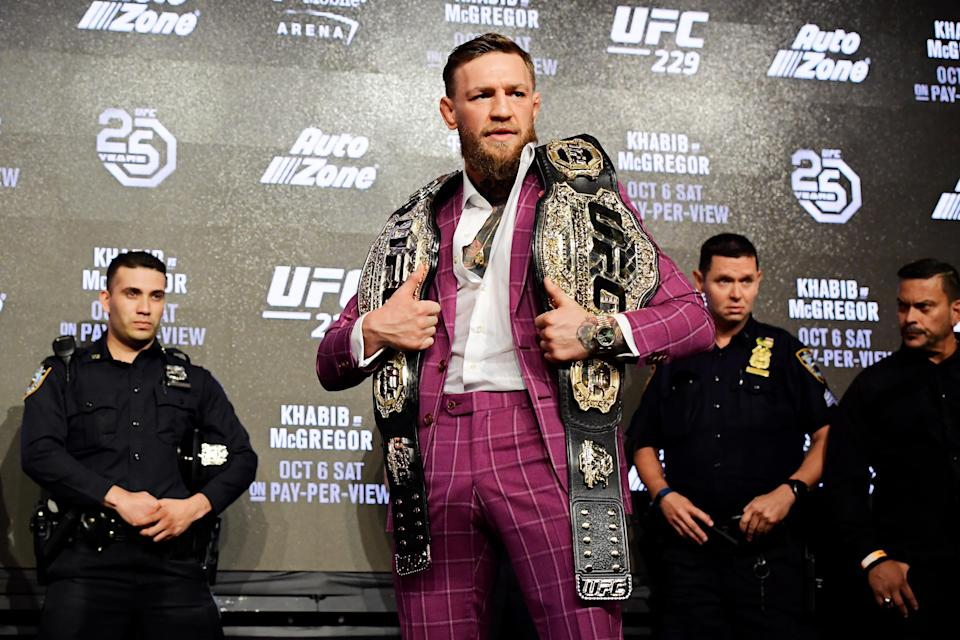 Conor McGregor poses for photos during the UFC 229 Press Conference at Radio City Music Hall on September 20, 2018 in New York City. (Getty Images)