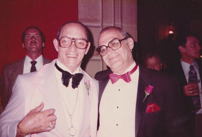 Lionel Friedman (left) and John Strauss at the Oscars in February 1985. Strauss was the music coordinator for that year's best picture winner, 'Amadeus,' and appeared briefly onscreen as a conductor.