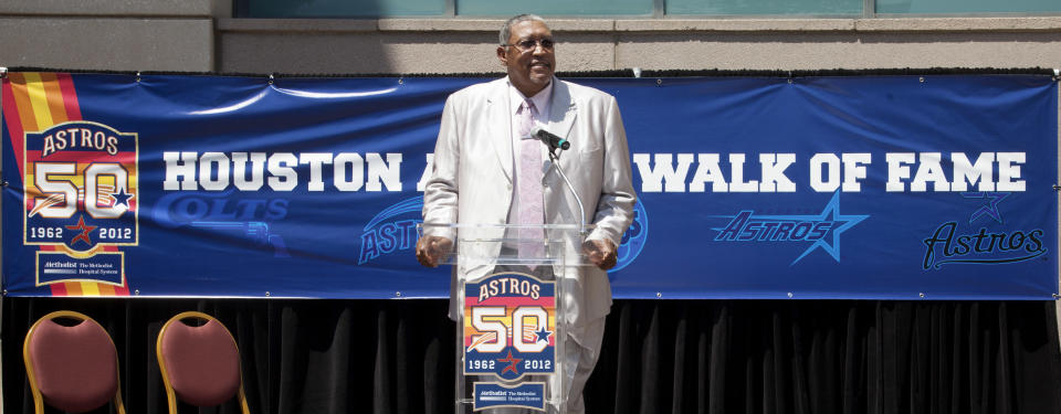 HOUSTON,TX-JUNE 01: Former Astros All-Star pitcher J.R. Richard speaks during a ceremony as he was inducted in the Astros Walk Of Fame on June 1, 2012 at Minute Maid Park in Houston, Texas.(Photo by Bob Levey/Getty Images)