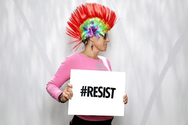 "<p>Brenda Coston, 47, poses for a portrait during the Resist March against President Donald Trump in West Hollywood, California, U.S. June 11, 2017. Coston said: ""I would say to him that love is love and women are not second class citizens; they have as many rights as anyone. People are people. Love is love. Equal rights for everyone. That's why I'm here today."" (Photo: Lucy Nicholson/Reuters) </p>"