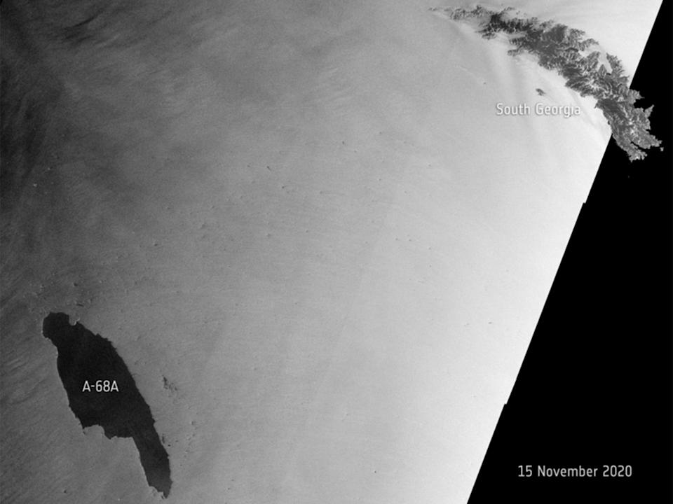 A68a was seen around 200km off the coast of South GeorgiaEuropean Space Agency