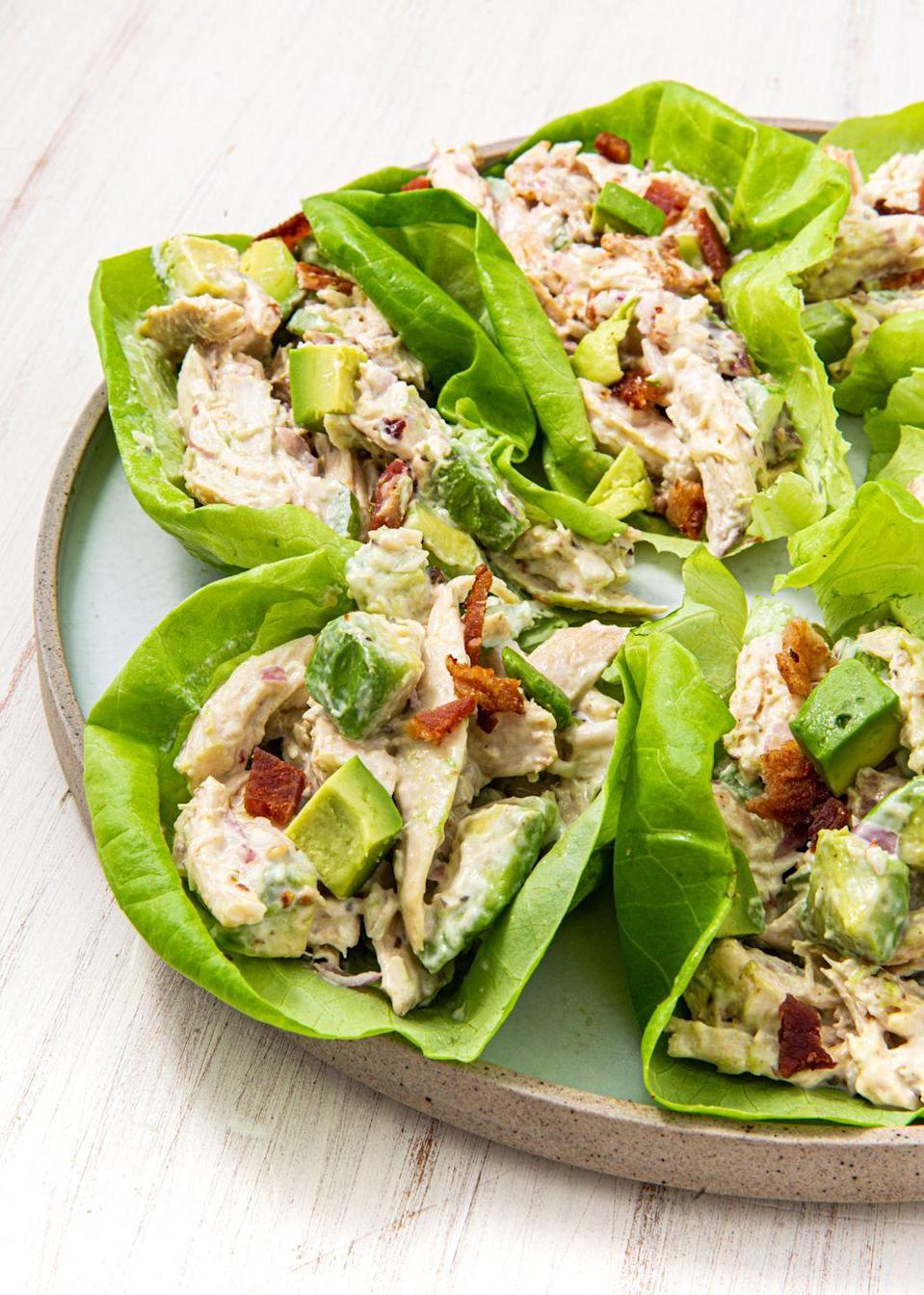 "<p>Fresh and won't weigh you down. What more could you need?</p><p>Get the recipe from <a href=""https://www.delish.com/cooking/nutrition/a30325209/keto-chicken-salad-recipe/"" rel=""nofollow noopener"" target=""_blank"" data-ylk=""slk:Delish"" class=""link rapid-noclick-resp"">Delish</a>. </p>"