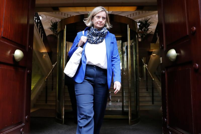 Britain's former Work and Pensions Secretary and Women's minister Amber Rudd leaves the Millbank broadcast studios near the Houses of Parliament in central London on September 24, 2019. - Britain's Supreme Court ruled on September 24 that Prime Minister Boris Johnson acted unlawfully in suspending parliament in the run-up to Brexit, in a stunning blow that sparked immediate calls for him to resign. (Photo by Tolga AKMEN / AFP) (Photo credit should read TOLGA AKMEN/AFP/Getty Images)