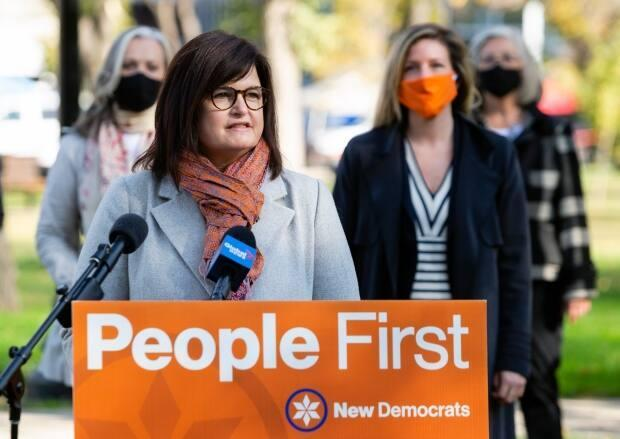 Carla Beck, the Saskatchewan NDP's critic for education, called for the government to implement rapid COVID-19 testing in schools quickly. (Bryan Eneas/CBC - image credit)