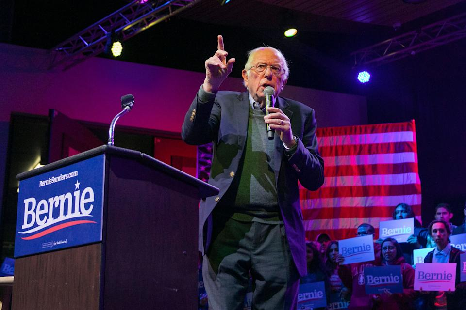 Sen. Bernie Sanders (I-Vt.) speaks at a Dec. 16 rally in Rancho Mirage, California. Sanders's signature issue in the Democratic presidential primary has been Medicare for All. (Photo: David McNew via Getty Images)