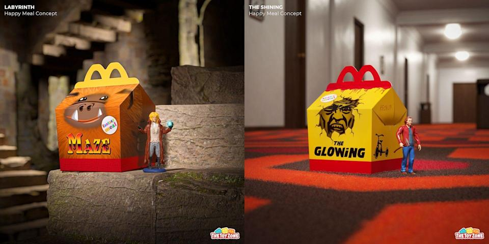 Fake Happy Meal boxes and toys for Labyrinth and The Shining
