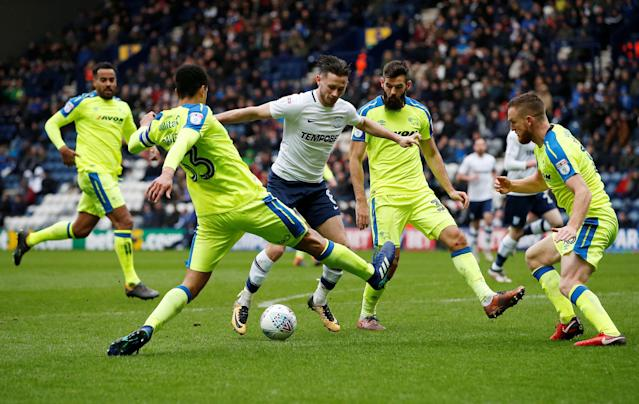 "Soccer Football - Championship - Preston North End vs Derby County - Deepdale, Preston, Britain - April 2, 2018 Preston North End's Alan Browne is closed down by the Derby County defence Action Images/Craig Brough EDITORIAL USE ONLY. No use with unauthorized audio, video, data, fixture lists, club/league logos or ""live"" services. Online in-match use limited to 75 images, no video emulation. No use in betting, games or single club/league/player publications. Please contact your account representative for further details."