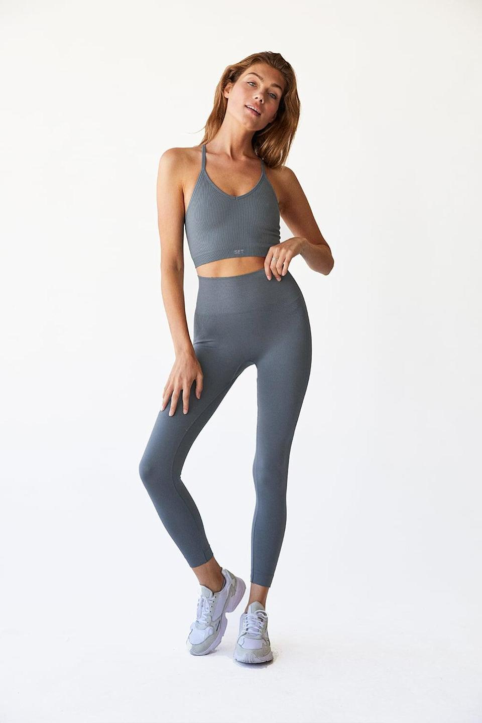 <p>The <span>Set Active Slate Leggings</span> ($65) and matching <span>Ribbed V Bra</span> ($48) are a great alternative to basic black. You'll love how high-waisted the leggings are and how comfortable they feel.</p>