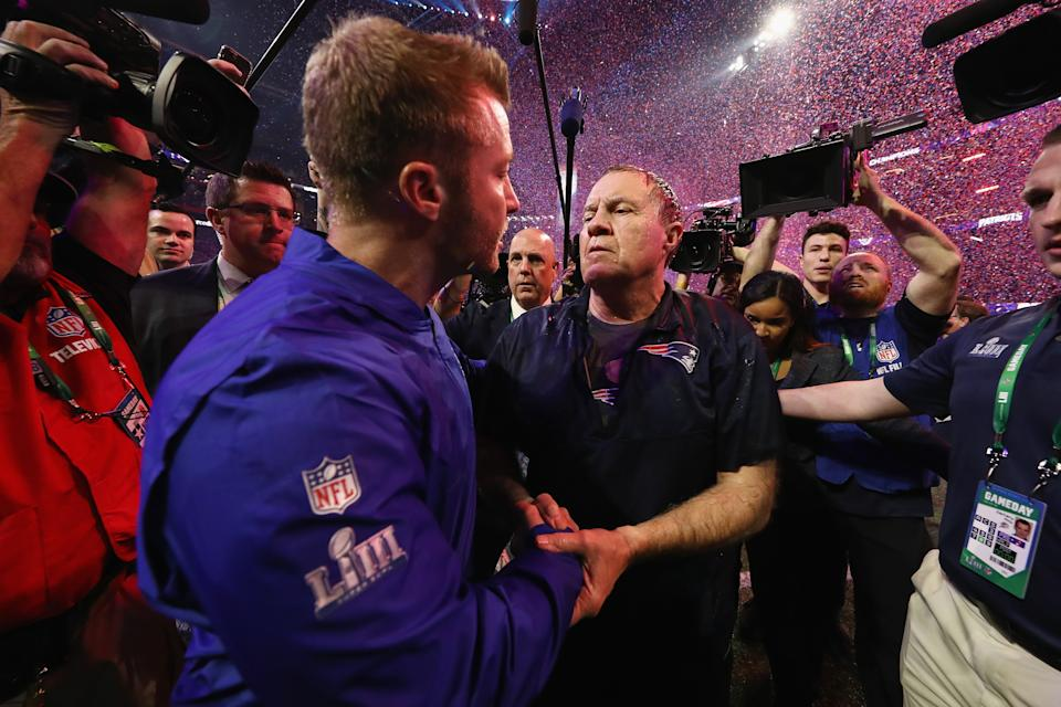 ATLANTA, GA - FEBRUARY 03:  Head Coach Sean McVay of the Los Angeles Rams and Head Coach Bill Belichick of the New England Patriots shake hands at the end of the Super Bowl LIII at Mercedes-Benz Stadium on February 3, 2019 in Atlanta, Georgia. The New England Patriots defeat the Los Angeles Rams 13-3.  (Photo by Jamie Squire/Getty Images)
