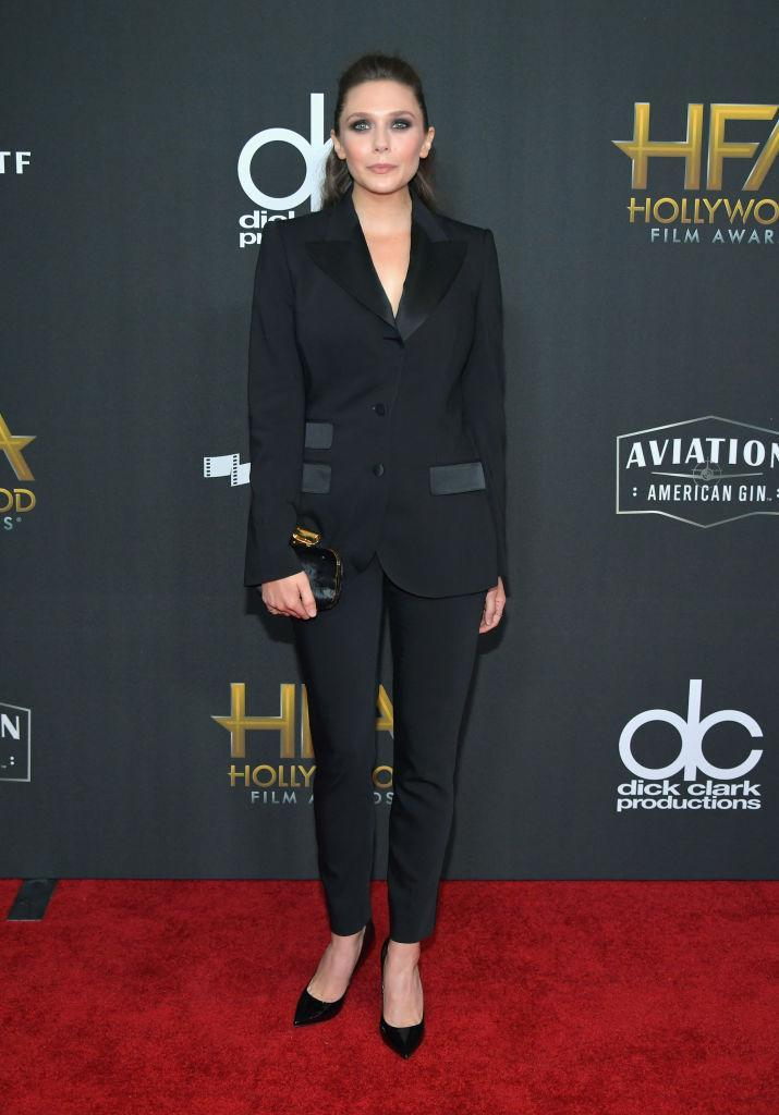 <p>A monochromatic suit was the look of the night. The youngest Olsen joined the trend with a sophisticated Dolce & Gabbana ensemble. (Photo: Getty Images) </p>