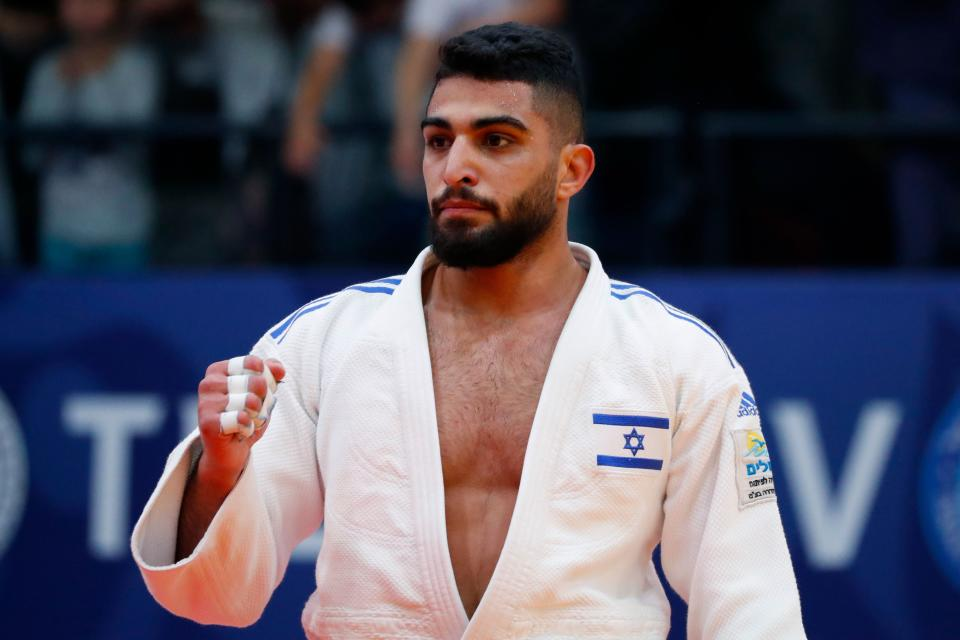 Israel's Tohar Butbul reacts during the men's under 73 kg weight category final match at the Tel Aviv Grand Prix 2019 in the Israeli coastal city of Tel Aviv on January 25, 2019. (Photo by JACK GUEZ / AFP)        (Photo credit should read JACK GUEZ/AFP via Getty Images)