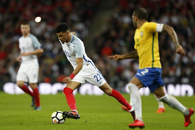 England's striker Dominic Solanke runs with the ball during the international friendly football match November 14, 2017 (AFP Photo/Ian KINGTON)