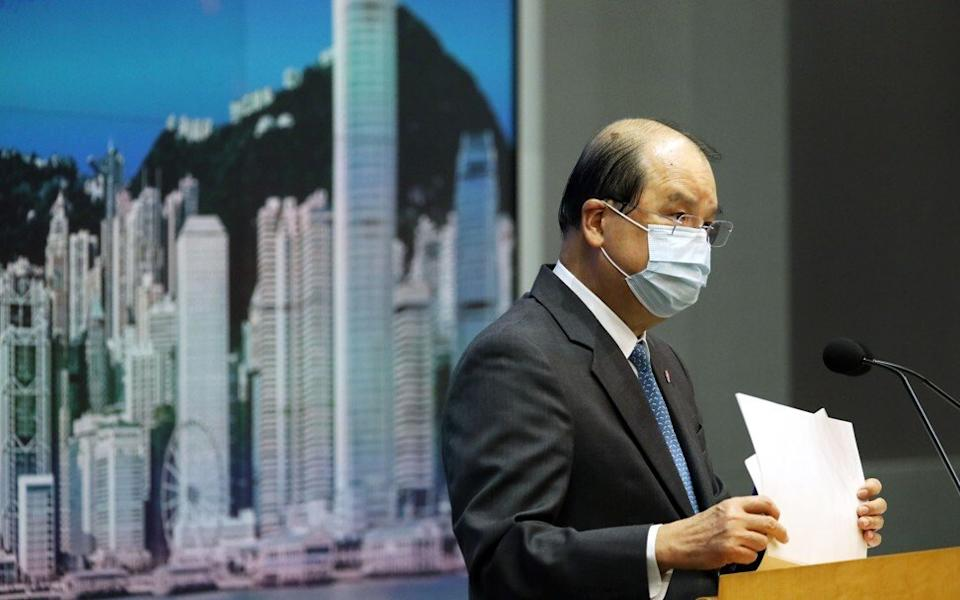 Matthew Cheung delivers the weekly press briefing in Carrie Lam's absence. Photo: Nora Tam
