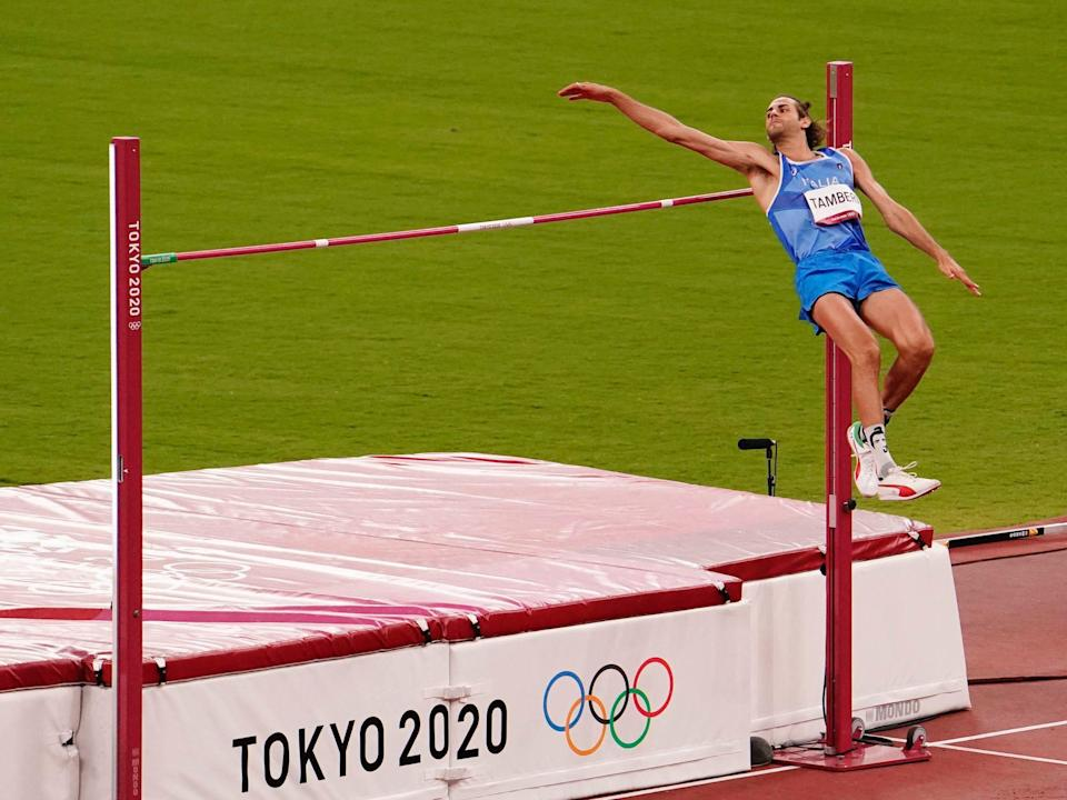 Gianmarco Tamberi competes in high jump at the Tokyo Olympics.