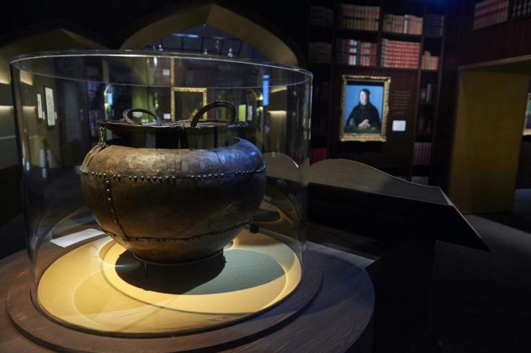 "The Battersea Cauldron is one of the items from the British Library's extensive collection in its new show, ""Harry Potter: A History of Magic"" displayed during a preview of 'Harry Potter: A History of Magic' exhibition at the British Library, in central London on October 18, 2017, marking the twentieth anniversary of the publication of Harry Potter and the Philosopher's Stone"