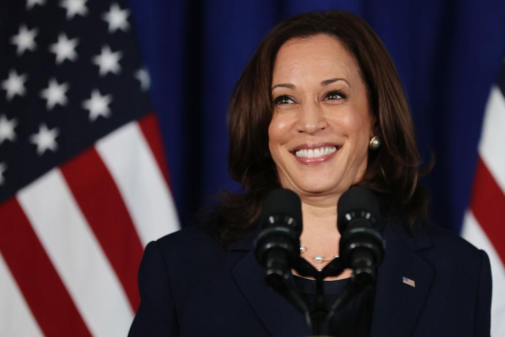 WASHINGTON, DC - JULY 08: U.S. Vice President Kamala Harris delivers remarks at the Louis Stokes Library on the campus of her alma mater Howard University on July 08, 2021 in Washington, DC. Organized by the Democratic National Committee, the event focused on voting rights.  (Photo by Chip Somodevilla/Getty Images)