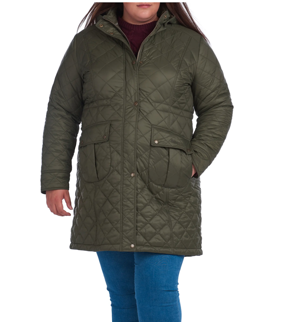 "<br><br><strong>Barbour</strong> Jenkins Quilted Nylon Jacket with Removable Hood, $, available at <a href=""https://go.skimresources.com/?id=30283X879131&url=https%3A%2F%2Fwww.nordstrom.com%2Fs%2Fbarbour-jenkins-quilted-nylon-jacket-with-removable-hood-plus-size%2F5732383%3Forigin%3Dcategory-personalizedsort%26breadcrumb%3DHome%252FBrands%252FBarbour%252FWomen%252FClothing%26color%3Dolive"" rel=""nofollow noopener"" target=""_blank"" data-ylk=""slk:Nordstrom"" class=""link rapid-noclick-resp"">Nordstrom</a>"