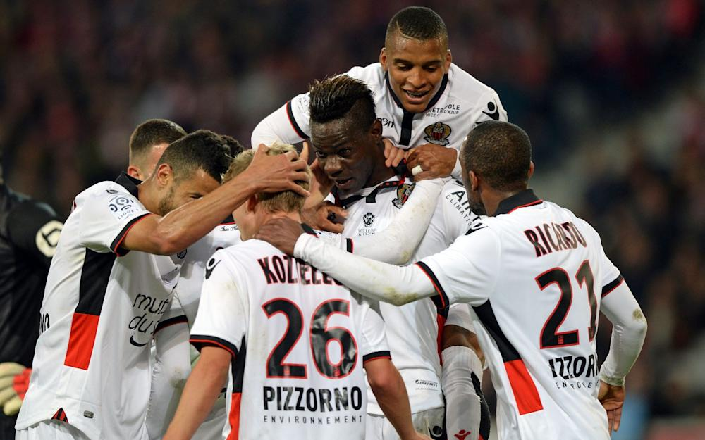 Balotelli popular with his team-mates after scoring against Lille this weekend - Credit: DENIS CHARLET/AFP