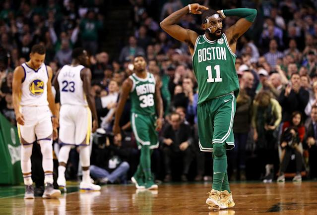A healthy Kyrie Irving and the Boston Celtics handed the Golden State Warriors a loss at TD Garden last season. (Getty Images)