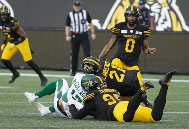 TORONTO — Now, the CFL and Simoni Lawrence wait.The veteran linebacker met with an arbitrator Tuesday regarding the suspension the CFL levied against him last month. The league is hopeful a decision can be made before Saturday when Lawrence and the Hamilton Tiger-Cats face the Calgary Stampeders at Tim Hortons Field.But two CFL sources said Tuesday's meeting was a lengthy one and subequently a resolution isn't expected until after this weekend's contests. If that's the case, Lawrence would be eligible to play Saturday against the Stampeders.The CFL suspended Lawrence for two games after he hit quarterback Zach Collaros in the head during Hamilton's season-opening 23-17 home win over Saskatchewan on June 13. Lawrence received a 25-yard roughing-the-passer penalty on the play.Collaros didn't return to the game and went on the six-game injured list shortly afterwards. A repentant Lawrence said he didn't mean to hurt his former teammate. He appealed the suspension and was able to continue playing leading up to the hearing.The six-foot-one, 231-pound Lawrence is in his eighth CFL season, seventh with Hamilton. He has a team-high 20 tackles with two sacks and two interceptions.The Canadian Press