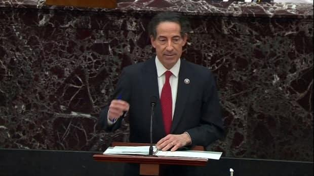 Democrat Jamie Raskin, the lead impeachment manager from the House of Representatives, is shown addressing the U.S. Senate at the beginning of the second impeachment trial of Trump.