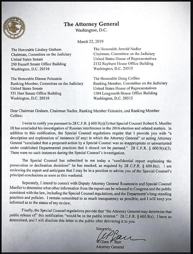 Attorney General William Barr sent this letter to ranking members of the US Senate Judiciary Committee on March 22, 2019 (AFP Photo/HO)