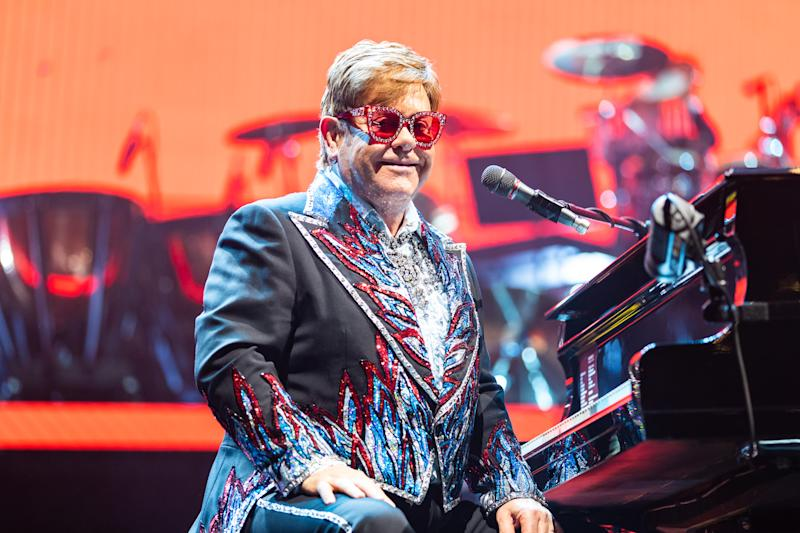 Sir Elton John performs on stage during his Farewell Yellow Brick Road Tour at Rod Laver Arena on December 10, 2019 in Melbourne, Australia.