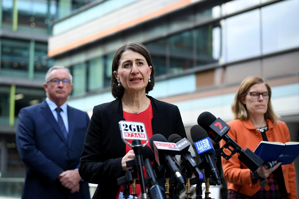 NSW Premier Gladys Berejiklian offered a confusing message to parents on Monday morning about the advice for children attending school. Source: AAP