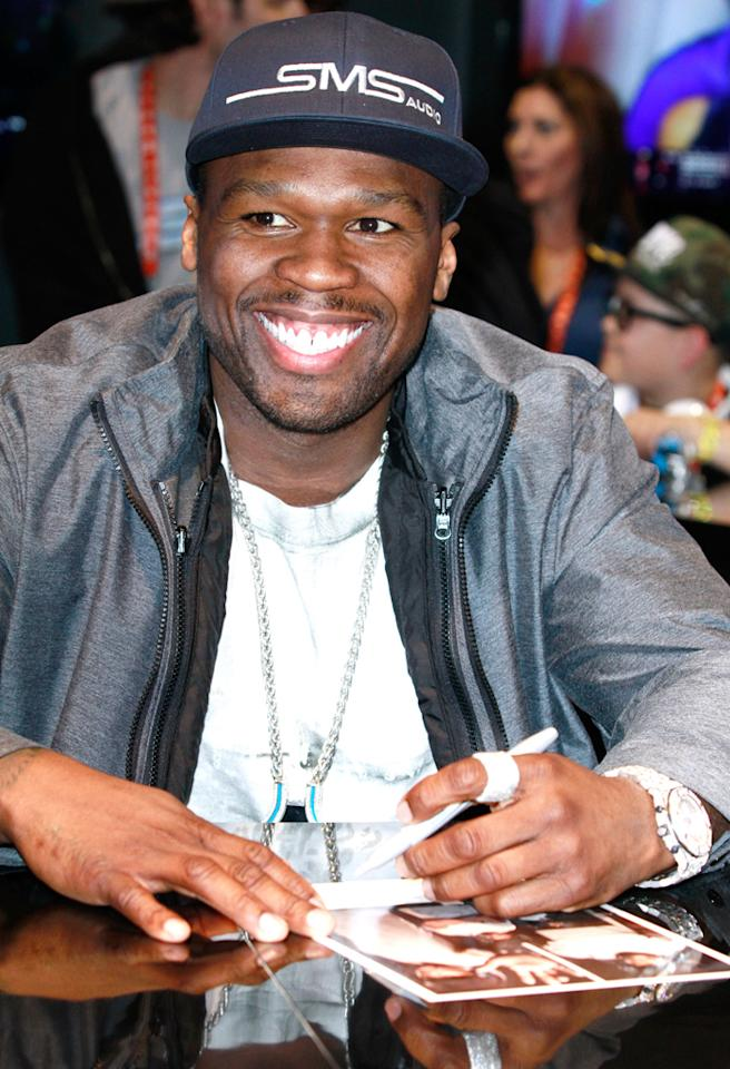 "LAS VEGAS, NV - JANUARY 09:  Rapper/actor Curtis ""50 cent"" Jackson attends an autograph signing event at SMS Audio booth during the 2013 International CES held at Las Vegas Convention Center on January 9, 2013 in Las Vegas, Nevada.  (Photo by Marcel Thomas/FilmMagic)"