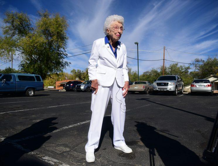 Jerry Emmett, 102, cast her vote for Hillary Clinton wearing a crisp white pantsuit.