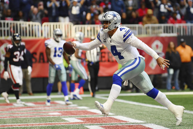 Dallas Cowboys quarterback Dak Prescott led his team to a game-winning field goal as time expired at Atlanta. (AP)