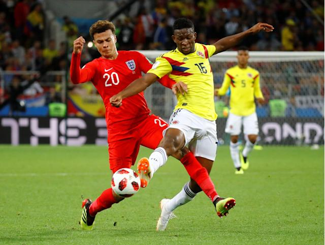 <p>England's Dele Alli in action with Colombia's Jefferson Lerma. REUTERS/Kai Pfaffenbach </p>