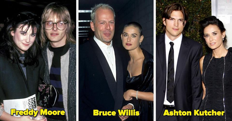 Demi Moore with her ex-husbands