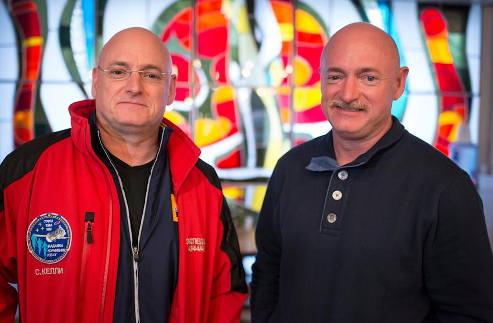 NASA astronaut Scott Kelly, left, and his identical twin brother Mark Kelly in 2015.