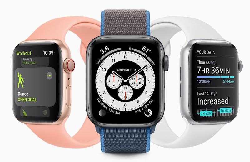 WatchOS7 includes a slew of additional features including new fitness tracking options and hand-washing detection. (Image: Apple)