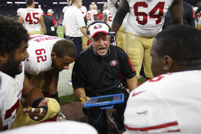 Former offensive line coach Chris Foerster returned to the NFL last offseason with the 49ers. (Photo by Michael Zagaris/San Francisco 49ers/Getty Images)