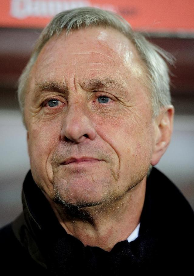 The Catalonia National Team's then coach Johan Cruyff pictured during a friendly against the Tunisia National Team at Lluis Companys Olympic stadium in Barcelona on December 30, 2011 (AFP Photo/Josep Lago)