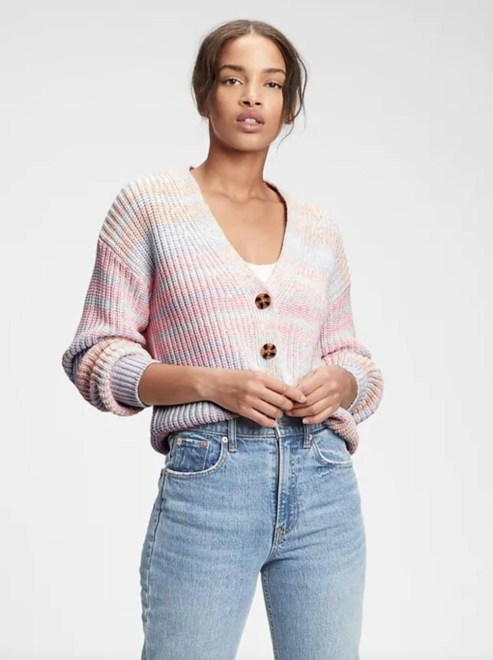 <p>For a playful casual option, try this <span>Gap Button-Front Cardigan</span> ($49, originally $70).</p>