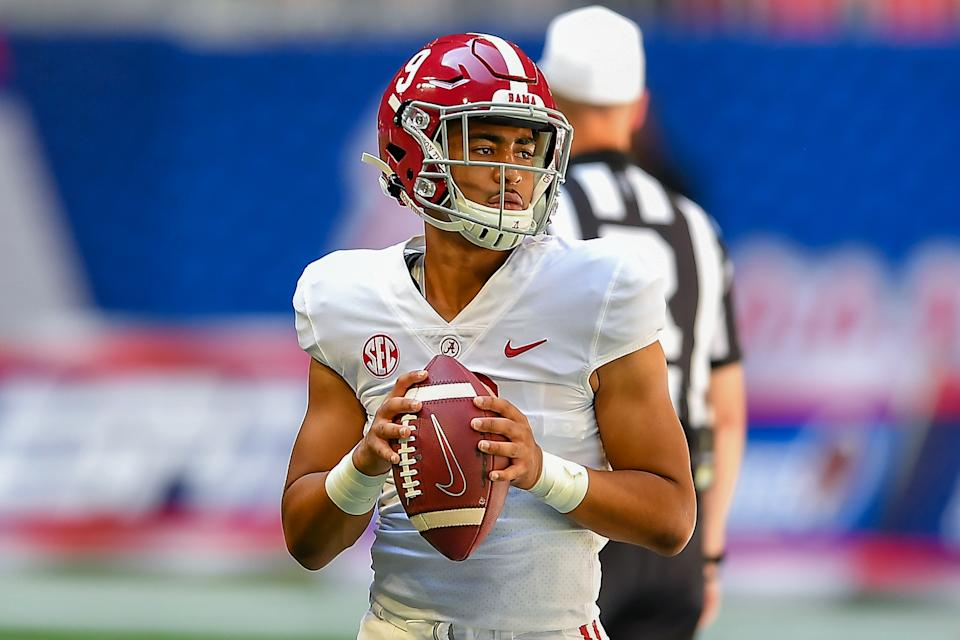 ATLANTA, GA  SEPTEMBER 04:  Alabama quarterback Bryce Young (9) warms up prior to the start of the Chick-fil-A Kick-Off Game between the Miami Hurricanes and the Alabama Crimson Tide on September 4th, 2021 at Mercedes-Benz Stadium in Atlanta, GA.  (Photo by Rich von Biberstein/Icon Sportswire via Getty Images)