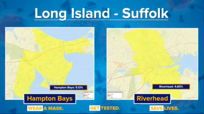 The positive coronavirus test rate in Hampton Bays and Riverhead as of Monday. (Gov. Andrew Cuomo's office)