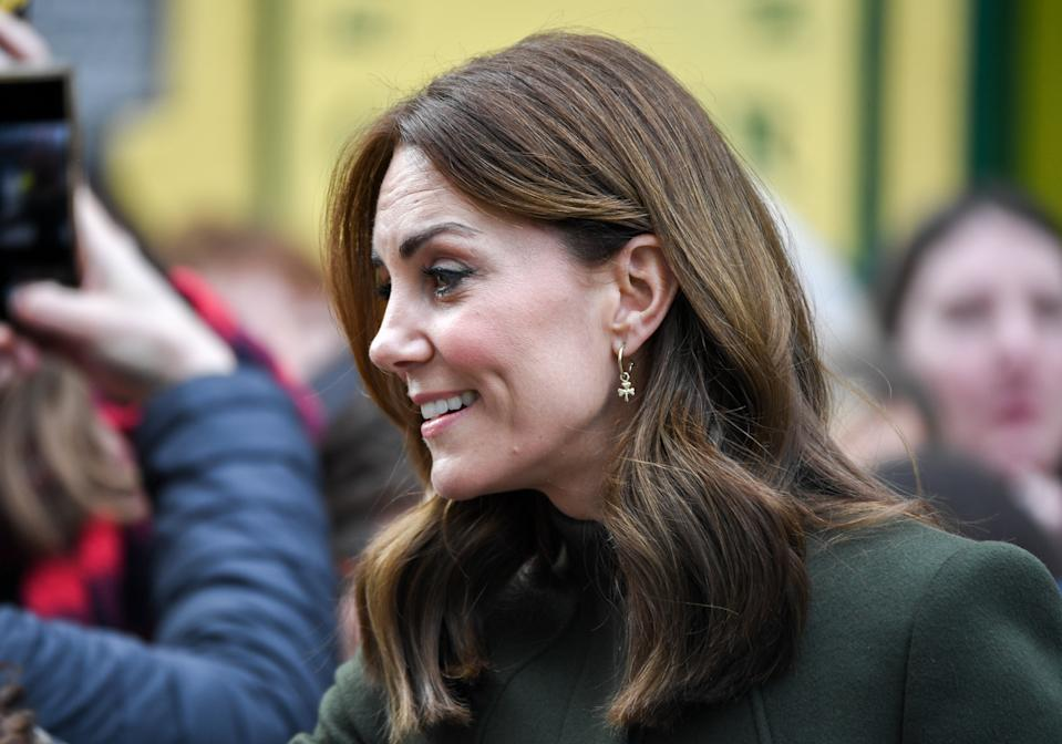 Galway , Ireland - 5 March 2020; Catherine, Duchess of Cambridge on a walkabout in Galway City Centre during day three of her visit to Ireland. (Photo By Sam Barnes/Sportsfile via Getty Images)