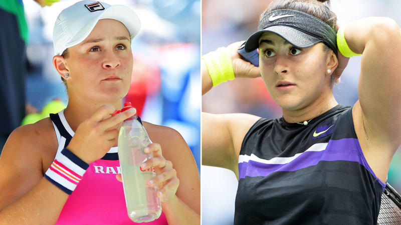 Ash Barty and Bianca Andreescu, pictured here during the US Open.