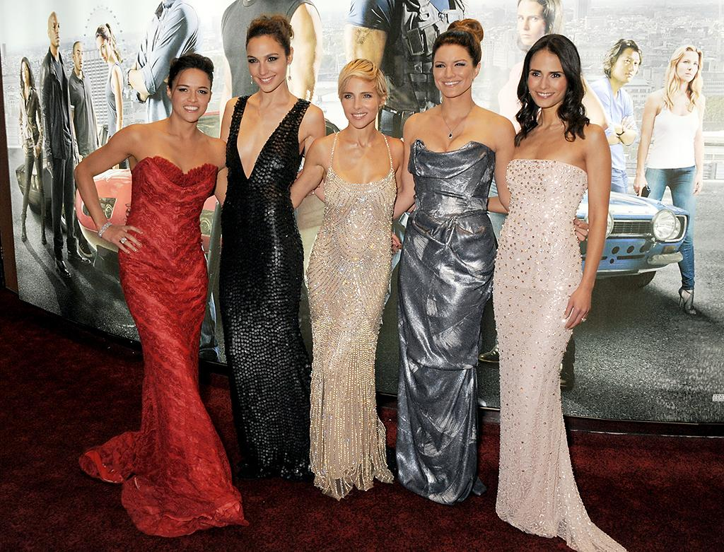 (L to R) Michelle Rodriguez, Gal Gadot, Elsa Pataky, Gina Carano and Jordana Brewster attend the World Premiere of 'Fast & Furious 6' at Empire Leicester Square on May 7, 2013 in London, England.