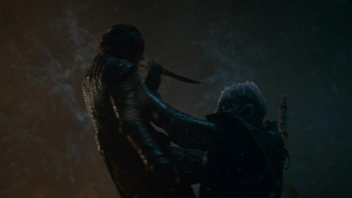 Arya Stark (Maisie Williams) tries to kill the Night King on Game of Thrones. | Helen Sloan—HBO